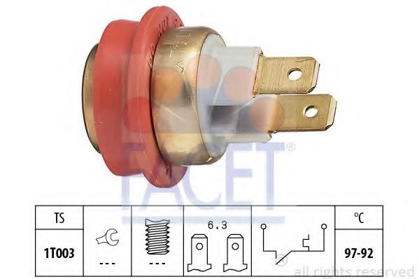 75093 FACET Термовыключатель, вентилятор радиатора