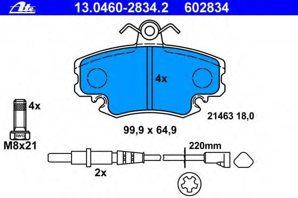 Колодки тормозные дисковые, комплект ATE 13046028342