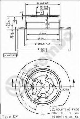 08492710 BREMBO Тормозной диск