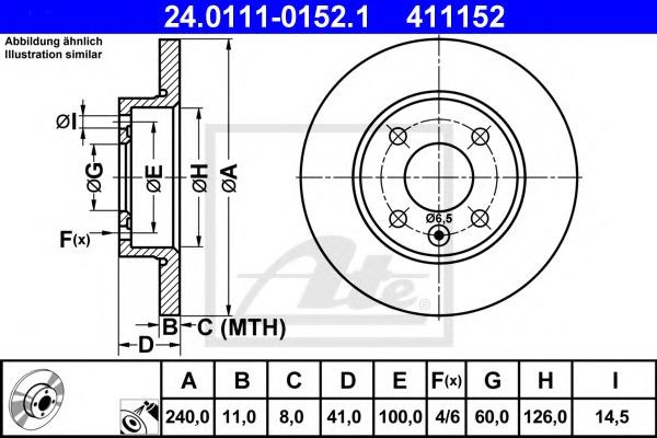 24011101521 ATE Тормозной диск