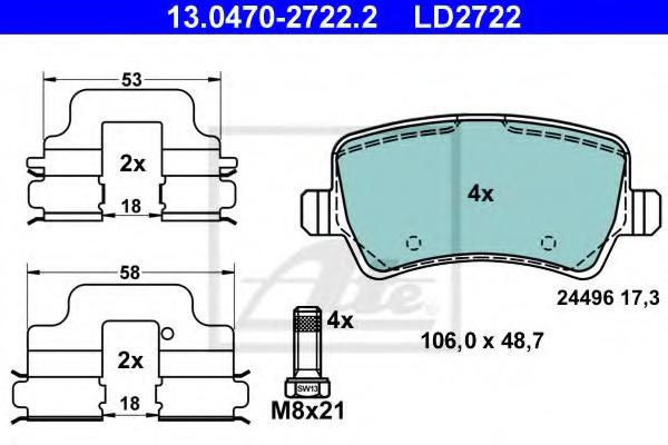13047027222 ATE Комплект тормозных колодок, дисковый тормоз