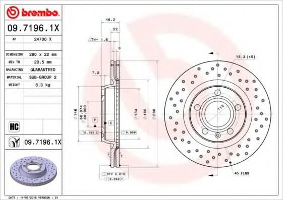 0971961X BREMBO Тормозной диск