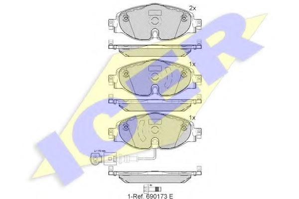 Комплект тормозных колодок, дисковый тормоз ICER 182111