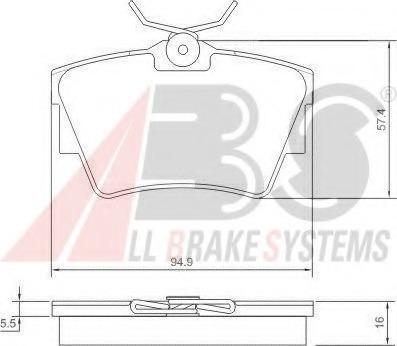 37288 ABS Комплект тормозных колодок, дисковый тормоз
