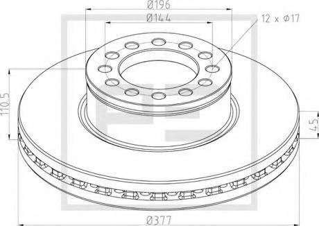 03614400A PE AUTOMOTIVE Тормозной диск