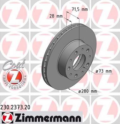 230237320 ZIMMERMANN Диск тормозной вентилируемый,