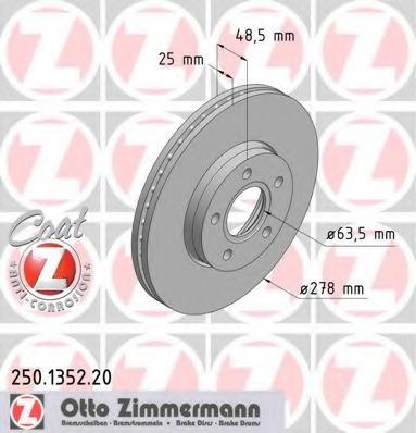 """Диск тормозной вентилируемый, """"Coat Z ZIMMERMANN 250135220"""