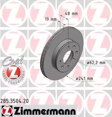 285350420 ZIMMERMANN Тормозной диск