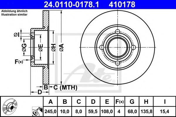 24011001781 ATE Тормозной диск