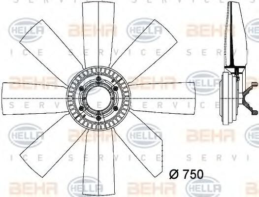 8MV376731451 BEHR-HELLA Вентилятор, охлаждение двигателя