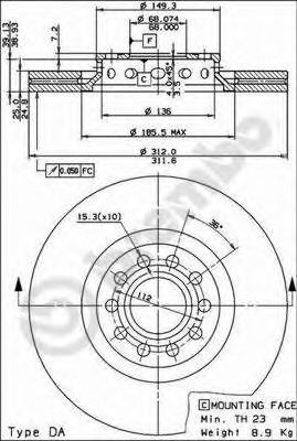 09869011 BREMBO Тормозной диск