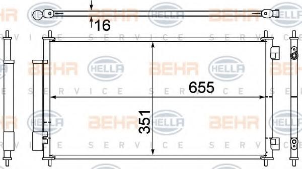 8FC351308781 HELLA Конденсатор, кондиционер