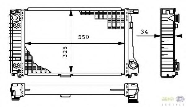 8MK376710784 HELLA Радиатор, охлаждение двигателя