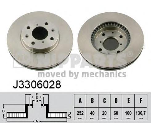 J3306028 NIPPARTS Тормозной диск