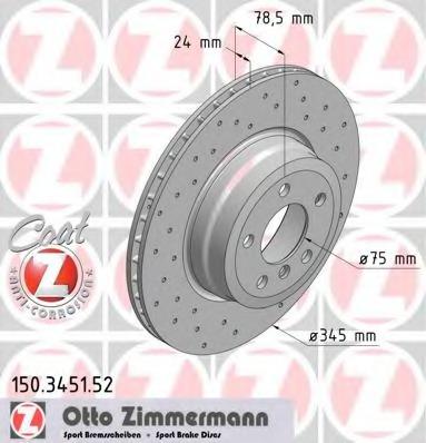 150345152 ZIMMERMANN Тормозной диск