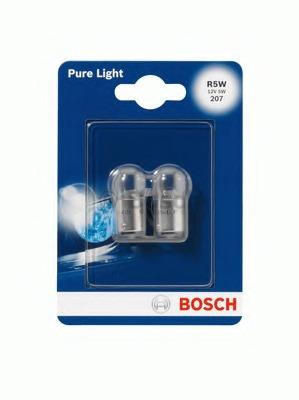 1987301022 BOSCH Лампа накаливания R5W (BA15s) 12В 5Вт, Pure Light, блистер 2шт