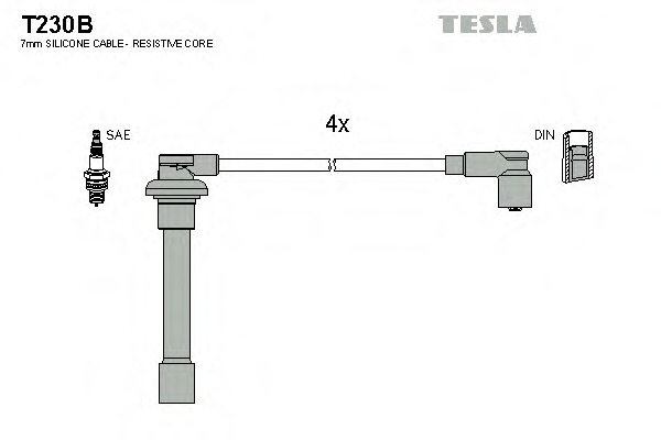 Комплект проводов зажигания TESLA T230B