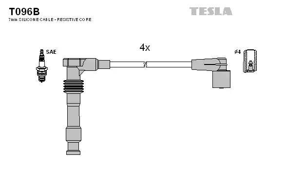 T096B TESLA Комплект проводов зажигания