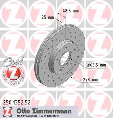 Диск тормозной вентилируемый, перфорированный ZIMMERMANN 250135252