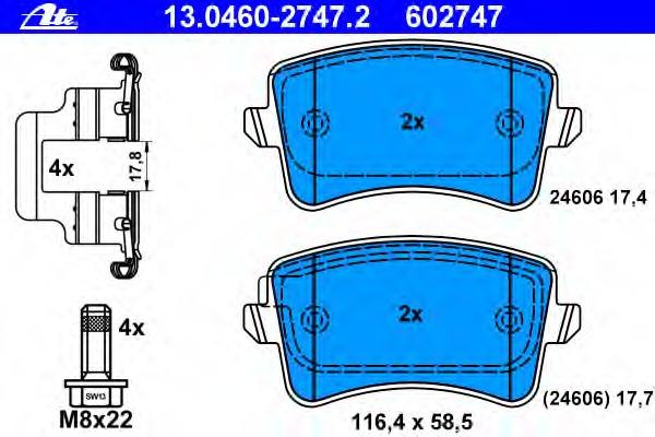 Колодки тормозные дисковые, комплект ATE 13046027472