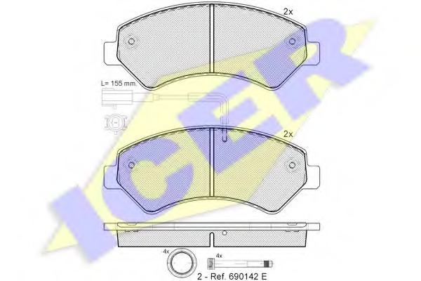 141836203 ICER Комплект тормозных колодок