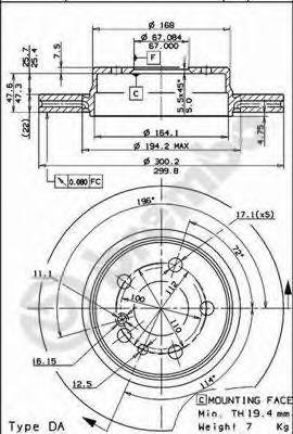 09571610 BREMBO Тормозной диск