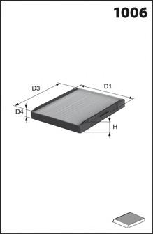 Фильтр, воздух во внутренном пространстве MECAFILTER JLR7229