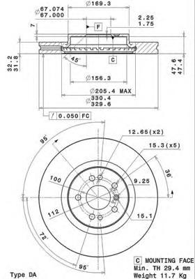 09R10411 BREMBO Тормозной диск