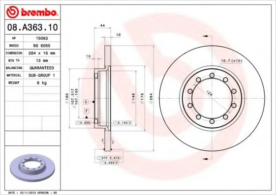 08A36310 BREMBO Тормозной диск