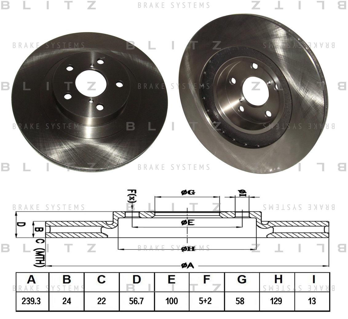 BS0166 BLITZ Диск тормозной