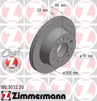 180303220 ZIMMERMANN Тормозной диск