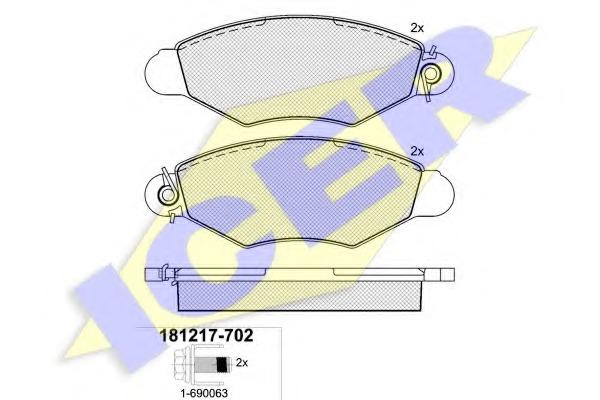 181217702 ICER Комплект тормозных колодок, дисковый тормоз
