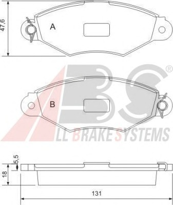 Комплект тормозных колодок, дисковый тормоз ABS 37040OE