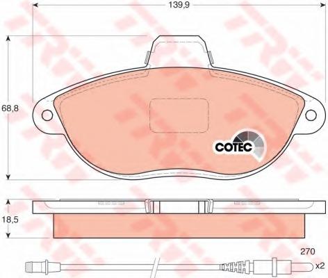 GDB1216 TRW/LUCAS Комплект тормозных колодок, дисковый тормоз