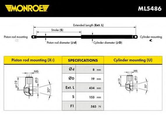 ML5486 MONROE Упругий элемент, крышка багажника / помещения для груза