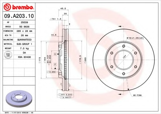 09A20310 BREMBO Тормозной диск
