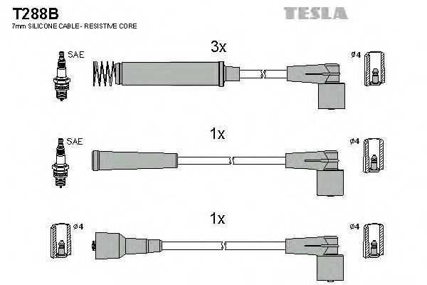 Комплект проводов зажигания TESLA T288B