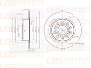 B2202002 UBS Тормозной диск для AUDI A3 03-/SKODA OCTAVIA/YETI/VW CADDY/GOLF 03- задний не вент., 1шт.