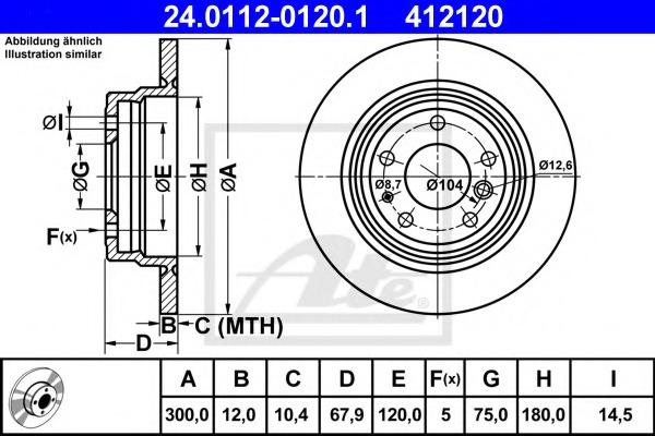 24011201201 ATE Диск тормозной