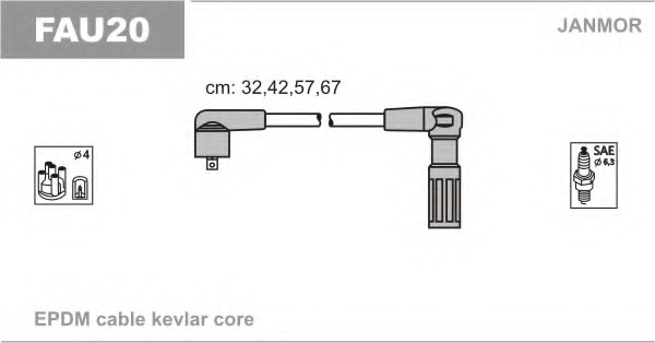 FAU20 JANMOR Комплект проводов зажигания
