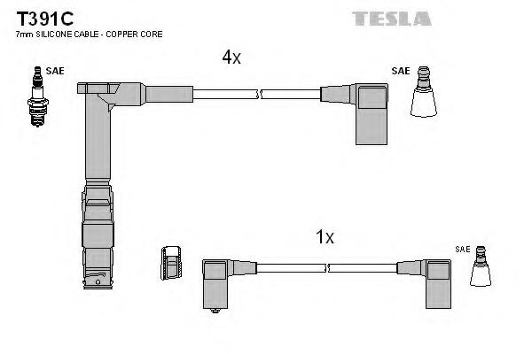 Комплект проводов зажигания TESLA T391C