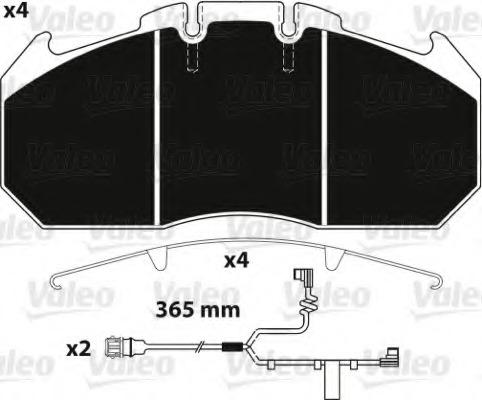 882220 VALEO Комплект тормозных колодок, дисковый тормоз