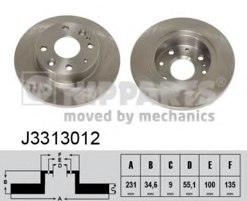 J3313012 NIPPARTS Тормозной диск