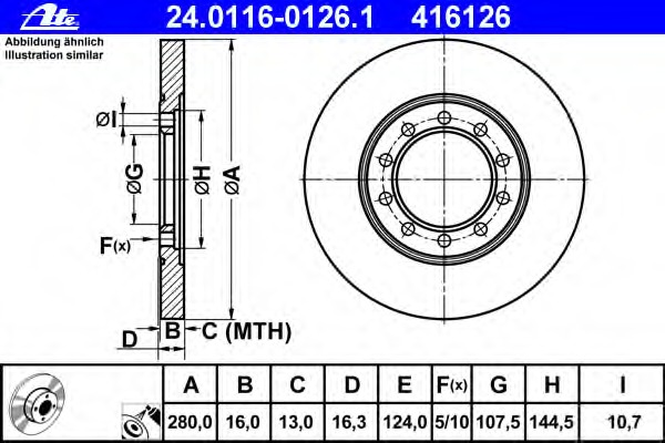 24011601261 ATE Диск тормозной