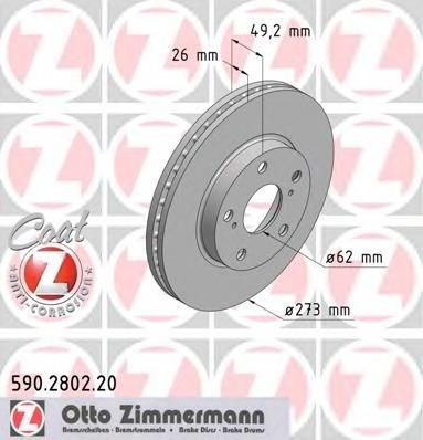 590280220 ZIMMERMANN Диск тормозной