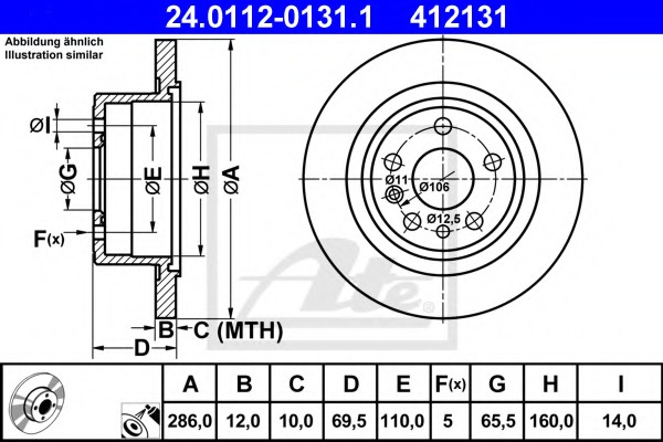 24011201311 ATE Тормозной диск
