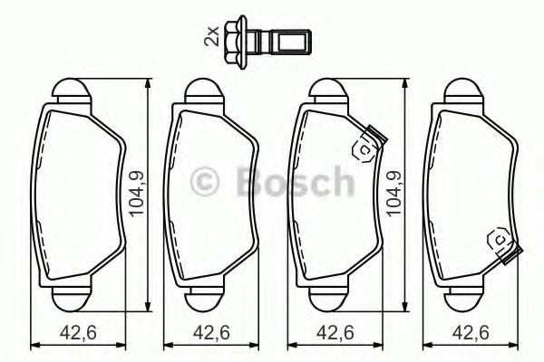 0986494014 BOSCH Комплект тормозных колодок, дисковый тормоз