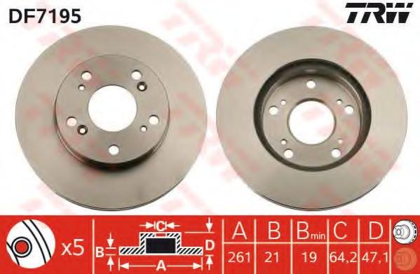 DF7195 TRW Тормозной диск