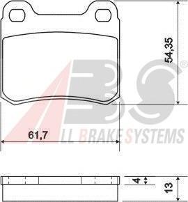 36498 ABS Комплект тормозных колодок, дисковый тормоз
