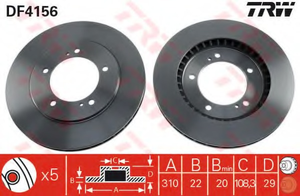 DF4156 TRW/LUCAS Диск тормозной